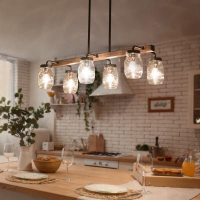 "Modern Farmhouse 6-light Glass Chandelier Faux Wood Islands Bar Lights - Brown - L27.5"" x W11""x H 71.5"""