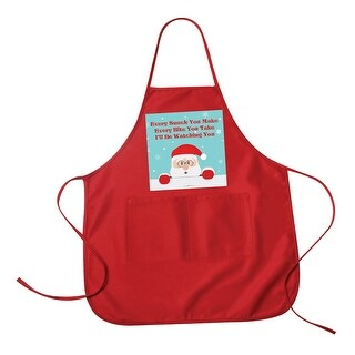I'll Be Watching You Santa Clause Red Kitchen Apron