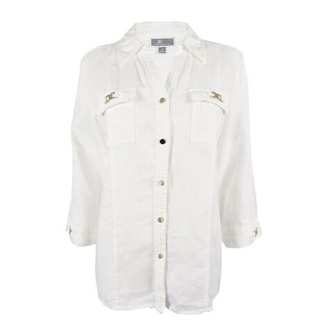 JM Collection Women's 3/4 Sleeve 100% Linen Top - Bright White - 8