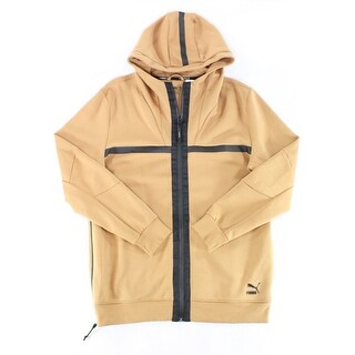 Puma NEW Solid Beige Black Mens Size XL Hooded Full-Zip Jacket