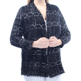 ALFANI $89 Womens New 1470 Black White Geometric Eyelash Open Cardigan L B+B