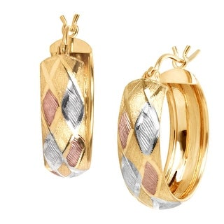 Just Gold Harlequin Hoop Earrings in 14K Gold with 14K Rose Gold & Rhodium Plating - three-tone