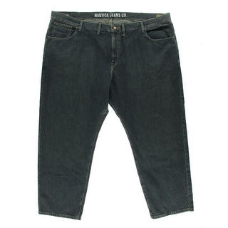 Nautica Mens Anchor Dark Wash Relaxed Fit Straight Leg Jeans
