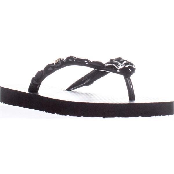 Tory Burch 32681 Jeweled Flip Flop Sandals, Black - 5 us