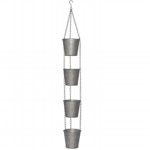 National Tree GAMP30-30S 30 in. Chain Of 4 Metal Pots - Antique Silver
