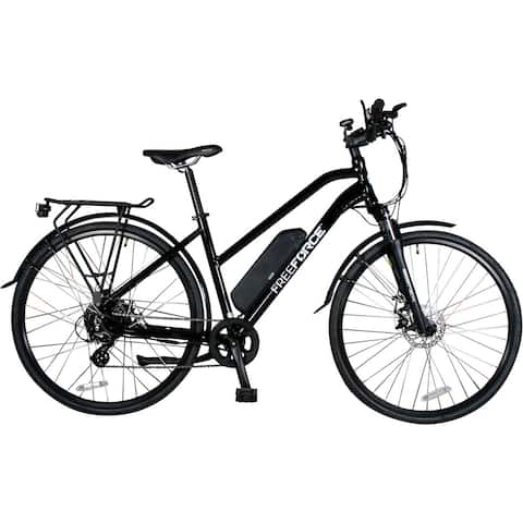 FreeForce The Indy 18-in. Electric Commuter Bike with Thumb Throttle and Pedal Assist in Gloss Black - 18-inch