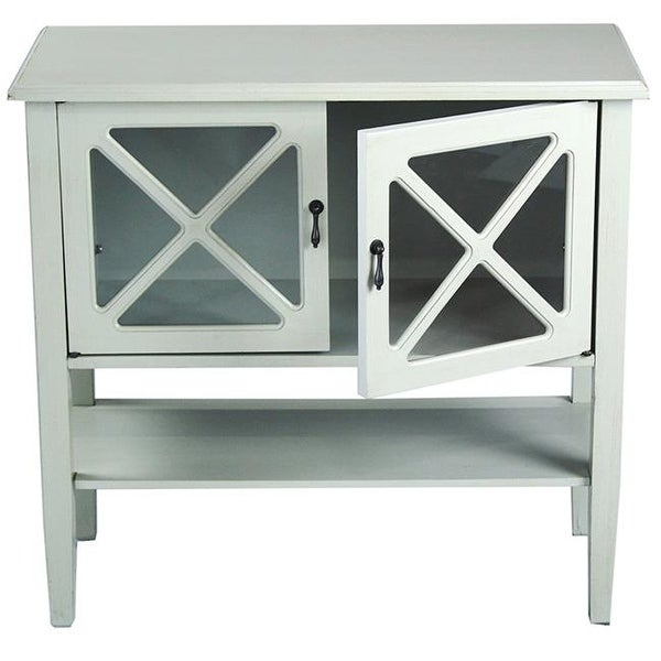 Cottage 2 Door Console Cabinet With Lattice Gl Inserts