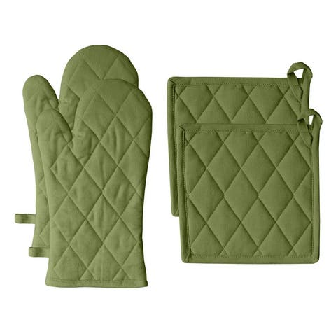 Fabstyles Solo Waffle Cotton Oven Mitt & Pot Holder Set of 4 - 7x12 , 8x8
