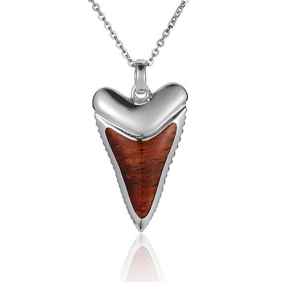 "Shark Tooth Necklace Koa Wood Sterling Silver Pendant 18"" Chain"