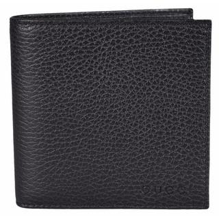 Gucci Men's 150413 1067 Black Leather Coin Pocket Logo Bifold Wallet