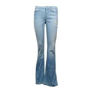 Calvin Klein Jeans Women's Distressed Blotched Flare-Leg Jeans