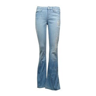 Calvin Klein Jeans Women's Distressed Blotched Flare-Leg Jeans - bourges (3 options available)