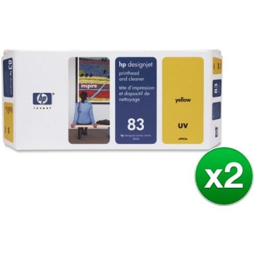 HP 83 Yellow DesignJet UV Printhead & Printhead Cleaner (C4963A) (2-Pack)