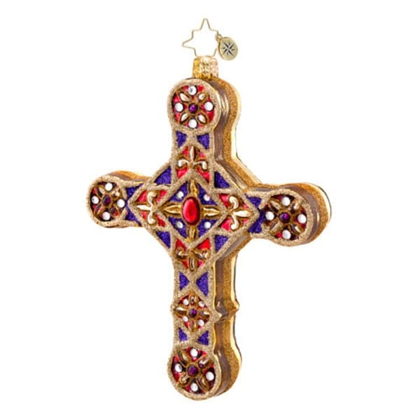 Christopher Radko Glass Golden Scrolls Cross Christmas Ornament #1017049