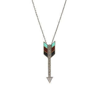 "LoulaBelle Jewelry Womens Necklace Arrow Resin Inlay 32"" Silver LN8904"