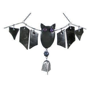 Cool Metal And Glass Bat Windchimes Halloween