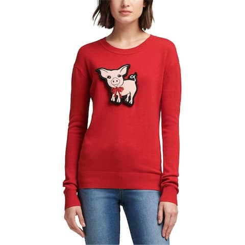 Dkny Womens Pig Patch Pullover Sweater