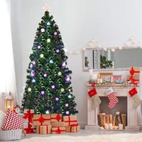 Costway 6.5Ft Pre-Lit Fiber Optic Artificial Christmas Tree w/ Multicolor Lights & Stand - Green