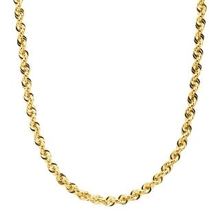 "Eternity Gold Men's Glitter Rope Chain Necklace in 14K Gold, 20"" - YELLOW"