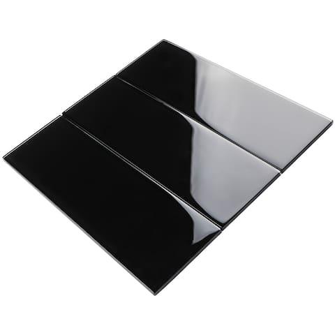 """TileGen. 4"""" x 12"""" Glass Subway Tile in Black Wall Tile (30 tiles/10sqft.)"""