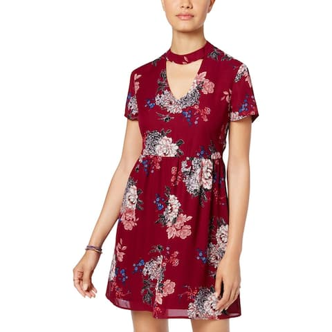 As U Wish Womens Juniors Party Dress Floral Cut-Out - Wine Grey - M