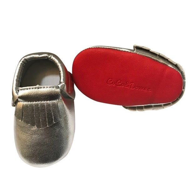 Baby Girls Silver Red Soft Sole Faux Leather Tassel Moccasin Crib Shoes 3-18M