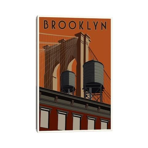 "iCanvas ""Brooklyn Travel Poster"" by Steve Thomas Canvas Print"