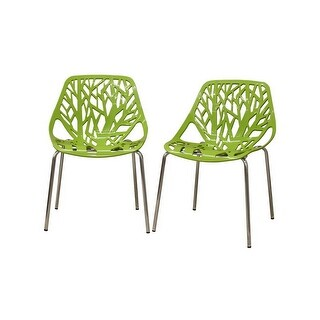 Birch Sapling Green Plastic Modern Dining Chair - 2pcs