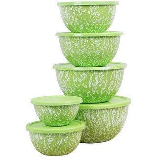 Calypso Basics by Reston Lloyd Marble 12 Piece Enamel on Steel Bowl Set, Lime