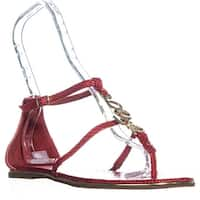 Bebe Pamelaa Flat Ankle Strap Sandals, Red - 9 us