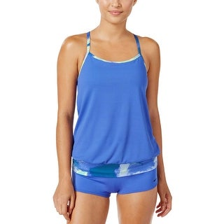 Nike Womens Cascade Active Tankini Top and Shorts Two Piece Swimsuit Small Blue