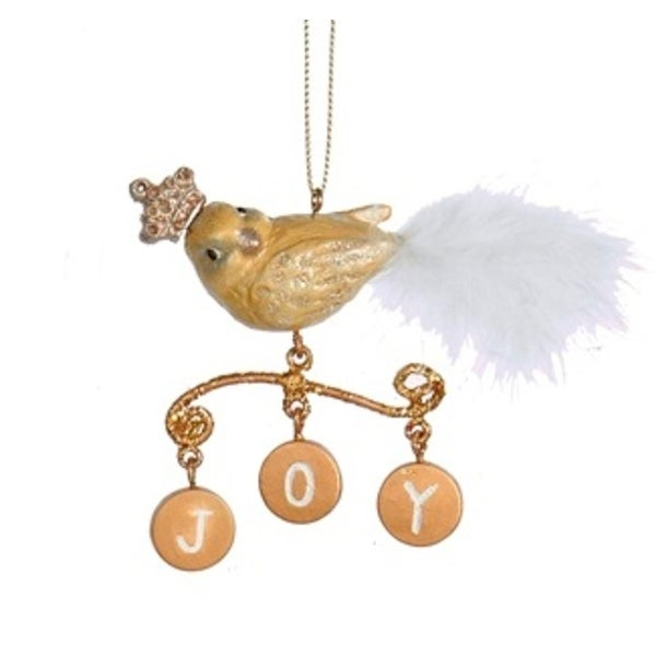"4"" Gold Bird with Dangling Inspirational ""Joy"" Charms Christmas Ornament"