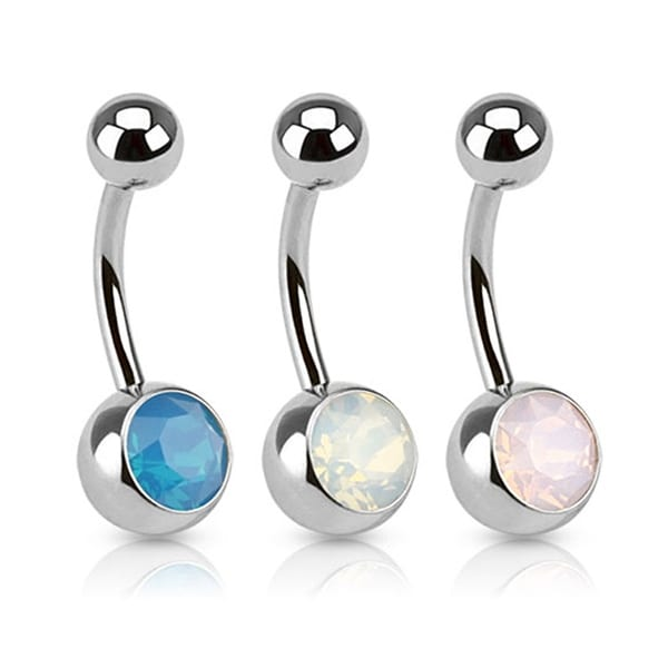 Synthetic Opal Stone Navel Belly Button Ring 316L Surgical Steel