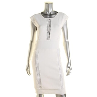 French Connection Womens Perforated Cap Sleeves Cocktail Dress