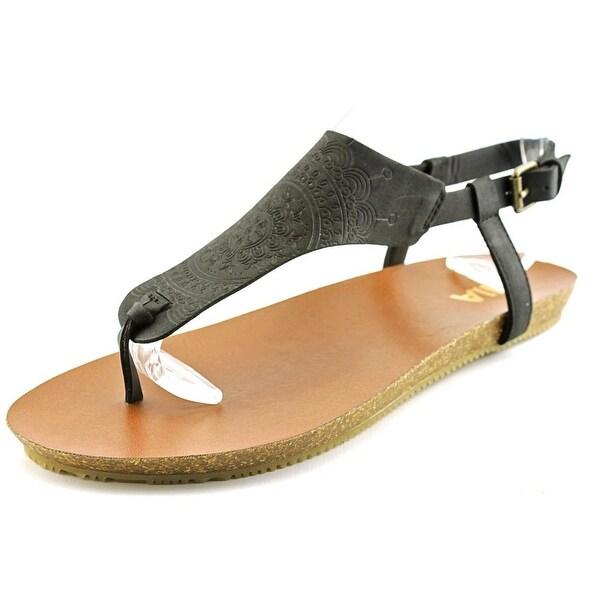 Mia Sylvia Women Open Toe Synthetic Black Thong Sandal