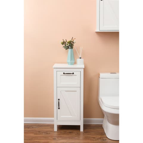 White MDF 1-Door Bathroom Accent Cabinet