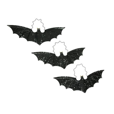 Distressed Black Metal Hanging Vampire Bat Halloween Decor Set of 3 - 5.5 X 18 X 0.25 inches
