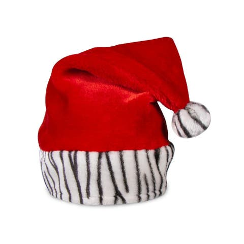 Merry Christmas Holiday Animal Zebra Red Santa Claus Hat Party Theme