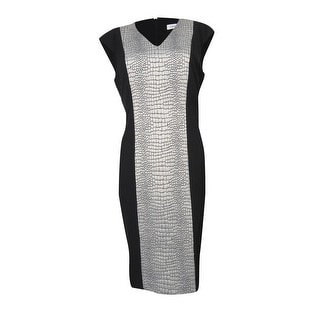 Calvin Klein Women's Animal Textured V-Neck Sheath Dress - 4