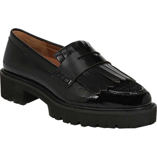 5e7389005aa Sarto by Franco Sarto Women  x27 s Duncan Kiltie Loafer Black Mirage  Crinkle Patent