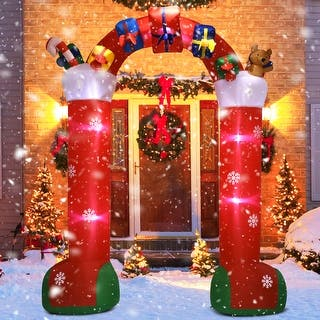 gymax 10ft inflatable christmas stocking arch w gift boxes lighted christmas decor