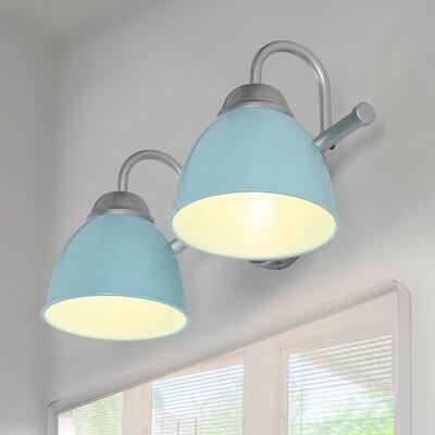 "Coastal 2-light Bathroom Vanity Light with Metal Shade for Powder Room - Blue - L 15""x W 6.5""x H 6.5"""