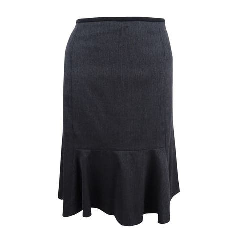 Calvin Klein Women's Petite Flippy Skirt (12P, Charcoal/Black) - 12P