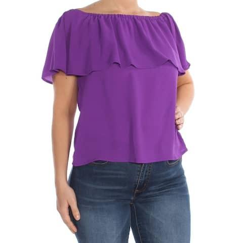 BAR III Womens Purple Ruffled Off The Shoulder Short Sleeve Off Shoulder Top Size: L