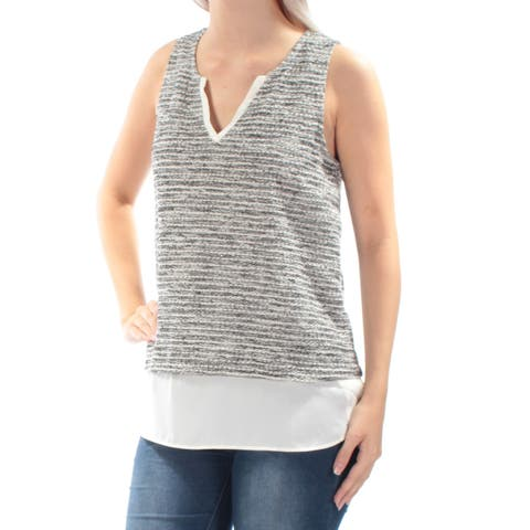SANCTUARY Womens Gray Textured Sleeveless V Neck Top Plus Size: L
