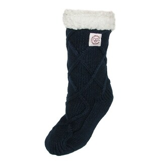 Dearfoams Women's Lattice Cable Knit Slipper Socks