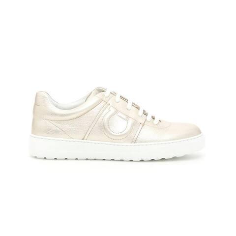 SALVATORE FERRAGAMO Women's Leather Fasano Sneaker Shoes Silver