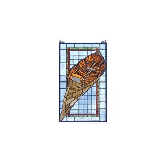 Meyda Tiffany 21439 Tiffany Rectangular Stained Glass Window Pane from the Guideboat Collection - bronze