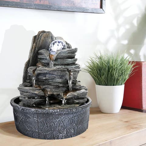 Cascading Fountain w/Light & Ball Indoor Waterfall Fountain for Home