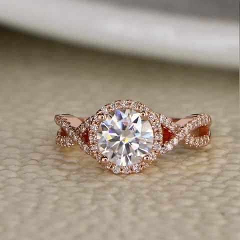Auriya 14k Gold 1ct Twisted Moissanite Halo Diamond Engagement Ring 1/5ctw